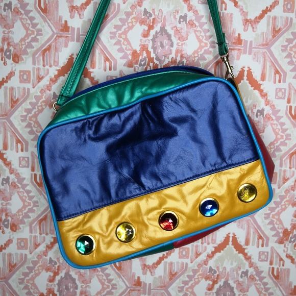 9236219b0d Vintage 80 s Leather Colorful Purse Jeweled. M 5b5b600203087ca1af1df819